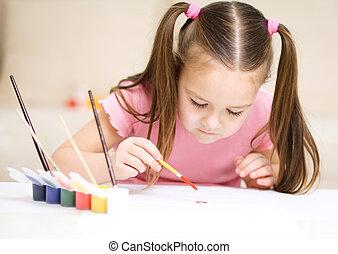 alegre, cute, jogo, criança, tintas