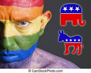 alegre, demócrata, cara, símbolos, bandera, republicano