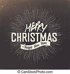 alegre, diseño, retro, tarjeta, navidad