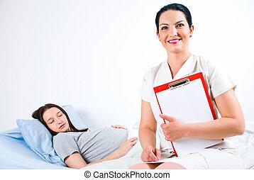 alegre, doutor, paciente, grávida