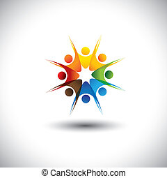 alegre, empleados, -, juntos, multiracial, feliz, compañía, ...