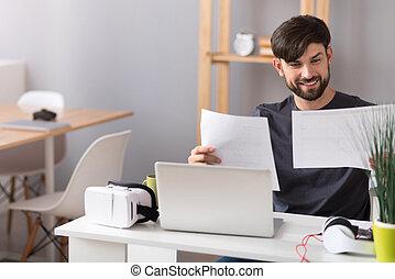 alegre, escritório, trabalhando, homem