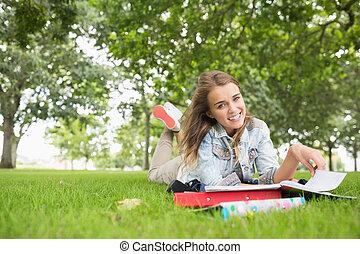 alegre, estudar, capim, jovem, estudante