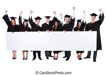 alegre, excitado, graduado, estudiantes, actuación, vacío,...