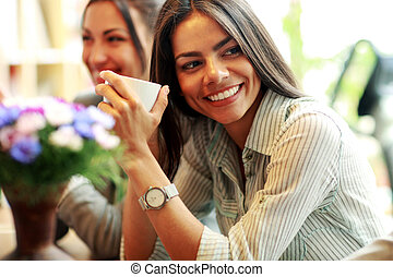 alegre, executiva, café, xícara segurando
