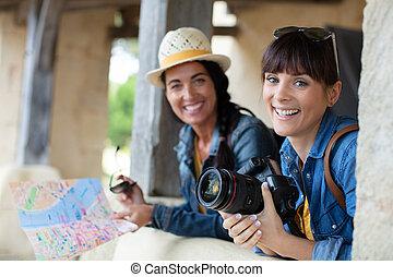 alegre, expresar, utilizar, mujeres, mapa, positivity, elaboración, foto