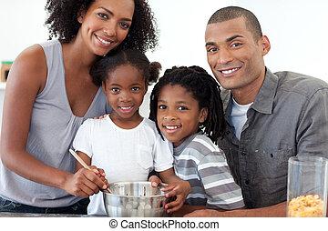 alegre, família, fazer, biscoitos, junto