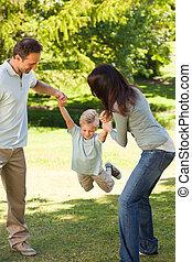 alegre, família, parque