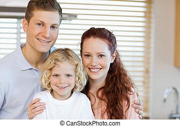 alegre, familia , posición, en la cocina