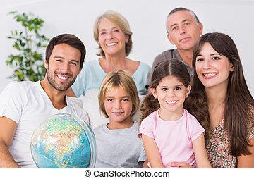 alegre, familia , sentar sofá