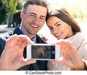 alegre, fazer, par, selfie, foto