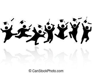 alegre, graduado, saltar, estudiantes