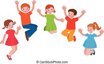 alegre, grupo, ilustração, crianças, salto, vetorial, caricatura
