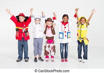alegre, grupo niños, en, uniformes