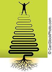 alegre, homem, com, árvore, raizes
