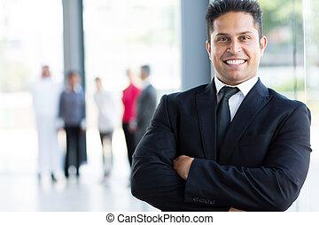 alegre, indio, hombre de negocios