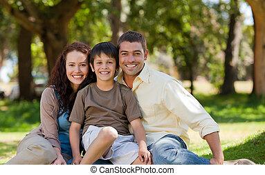 alegre, jardim, família, sentando