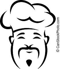 alegre, jefe cocina chino, con, un, bigote