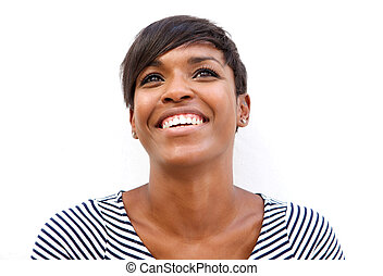 alegre, jovem, mulher americana africana, sorrindo