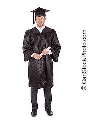 alegre, joven, graduación, hombre