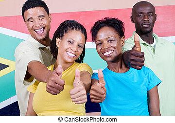alegre, joven, norteamericanos africanos