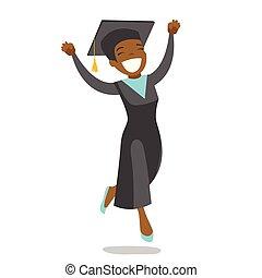alegre, jumping., africano-americano, jovem, graduado