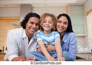 alegre, junto, família, cozinha