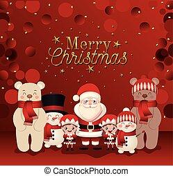 alegre, letras, conjunto, iconos, navidad
