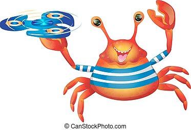 alegre, lindo, caricatura, cangrejo, hilandero