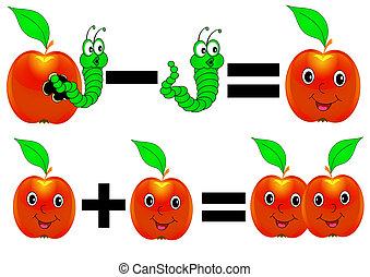 alegre, matemáticas, manzana, más, menos, oruga