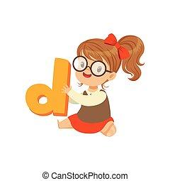 alegre, menina bebê, personagem, sentar chão, com, brinquedo, letra, d, para, fala, games., caricatura, criança, personagem, em, apartamento, estilo