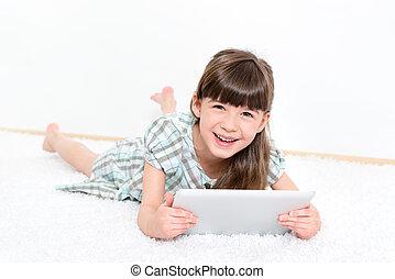 alegre, menininha, com, um, tabuleta