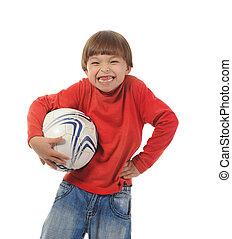 alegre, menino, com, um, bola futebol
