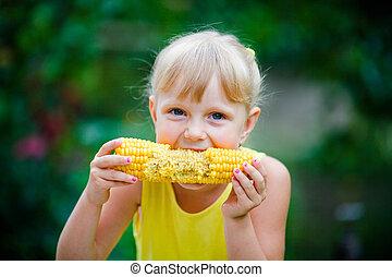 alegre, milho, come, menina, farm.