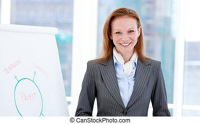 alegre, mujer de negocios, hacer, un, presentación