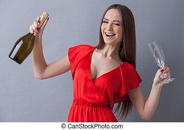 alegre, mulher jovem, é, pronto, para, celebração
