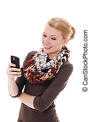 alegre, mulher jovem, messaging texto