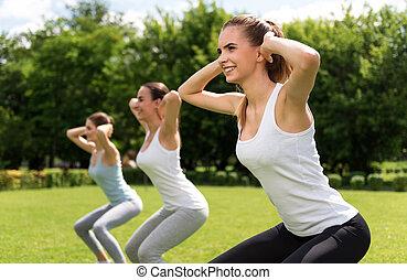 alegre, mulheres, fazendo, desporto, exercícios