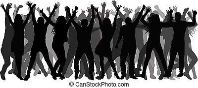 alegre, multidão., pessoas., vetorial, silhuetas