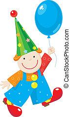 alegre, palhaço, com, balloon