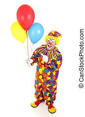 alegre, palhaço, e, balões