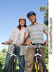 alegre, par, com, seu, bicicletas