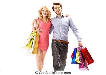 alegre, pareja, compras