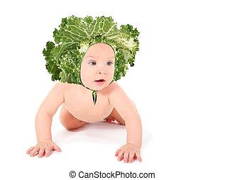 alegre, pelado, bebê, repolho, é, rastejando, fours, e, olhando, isolado, branco, colagem