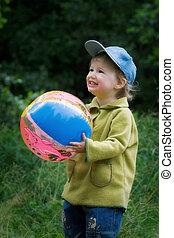 alegre, pelota, niño