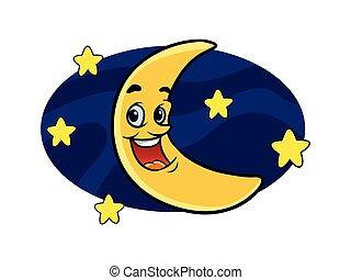 alegre, personagem, lua