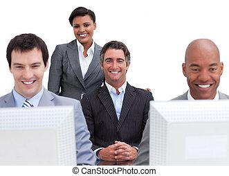 alegre, pessoas negócio, trabalhar, computadores