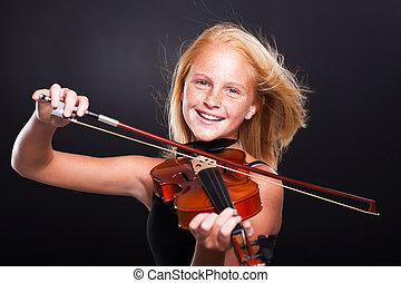 alegre, preteen, menina, jogando violino