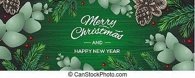 alegre, ramas, año, vector, nuevo, feliz, fondo., plantilla, plano de fondo, navidad, horizontal, feriado, bayas, invierno, poster., picea, verde, eucalipto