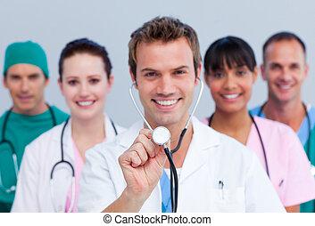 alegre, retrato, equipe médica